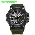SANDA brand men s sports watch dual display analog digital LED electronic watch men s fashion