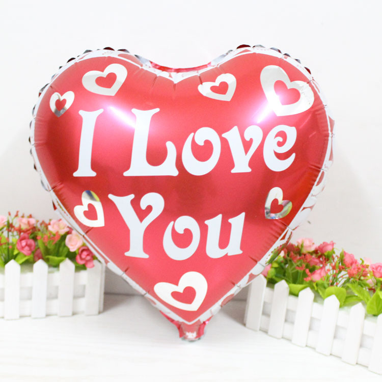18inch red heart I LOVE YOU balloon Heart shape Foil helium Balloons love Balloon for Valentine Festival Wedding Decoration(China (Mainland))