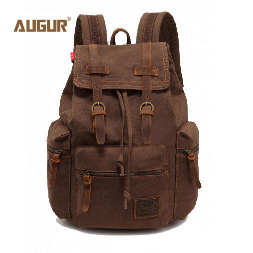 AUGUR New fashion men's backpack vintage canvas backpack school bag men's travel bags large capacity travel backpack camping bag(China (Mainland))