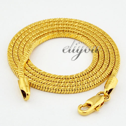 2mm Free Shipping Mens Womens 18K Yellow Gold Filled Necklace Box Snake Link Chain Fashion Jewelry Gold Jewellery Gift C42 YN(China (Mainland))