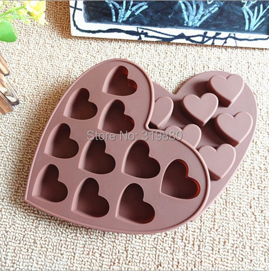 10 holes Hearts Shape Silicone Cake Bakeware Tools Chocolate Ice Mold Cake Kitchen Cooking Free shipping(China (Mainland))
