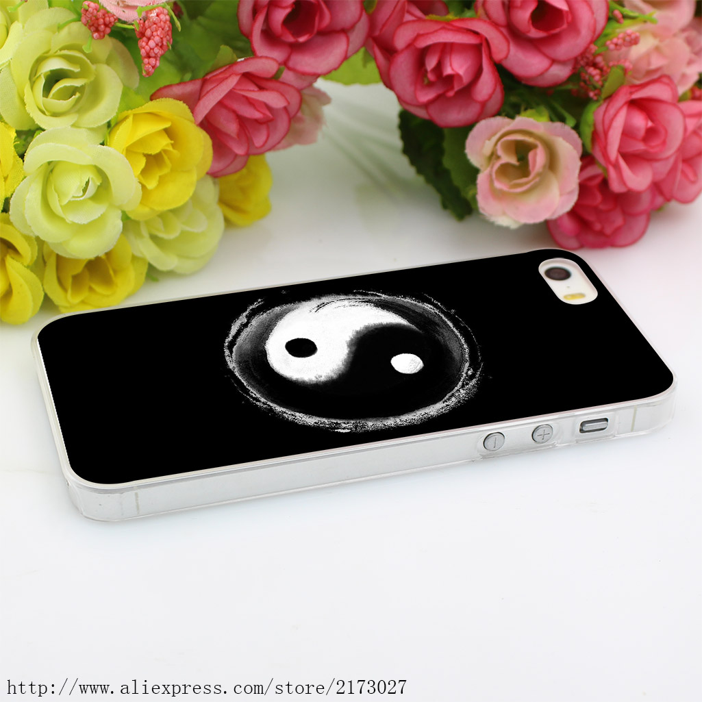 139HK China yin yang Hard Case Transparent Cover for iPhone 4 4s 5 5s 5c SE 6 6s 7 & Plus
