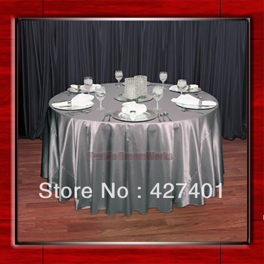 "Hot Sale Silver Shaped Poly Satin Table Cloth Wedding Meeting Party Round Tablecloths/Table Linen (128"" Round )(China (Mainland))"