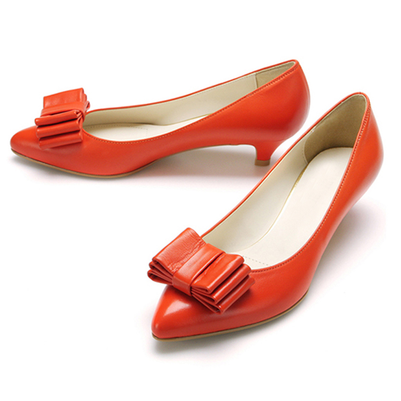 Orange Kitten Heel Shoes