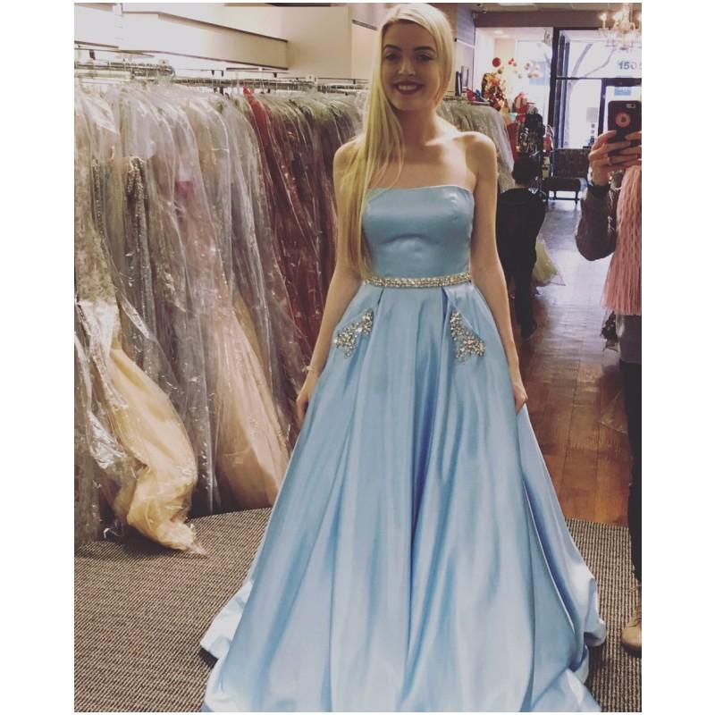 Light blue sequin prom dress