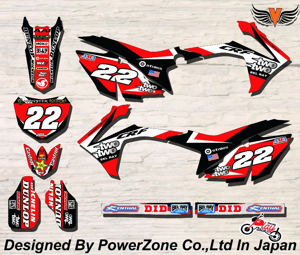 CRF XR CRM 125 250 450 650 Team Graphics Backgrounds Decals Stickers Two Motorcross Motorcylce Dirt Bike MX Racing Parts