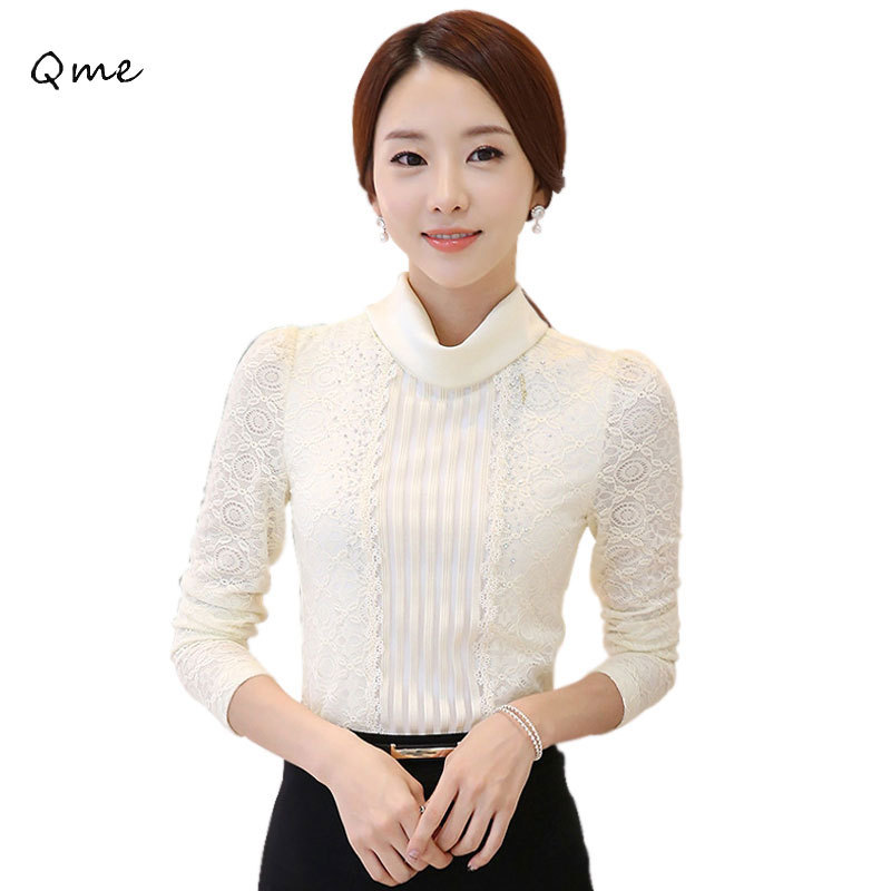 Women lace blouses lace tops turtleneck black and white lace shirts long sleeve embroidery blouse ladies WD520(China (Mainland))