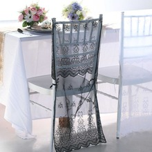 10Pcs/lot Lace Embroidery Organza Chiavari Chair Covers Wedding Party Home Restaurant Banquet Decoration Ivory White Black(China (Mainland))
