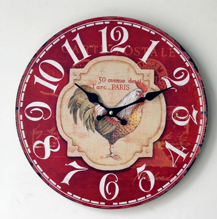 Modern Silent Red Wall Clock Animal Cock Pattern Digital Wood Clock Home Office Deco(China (Mainland))