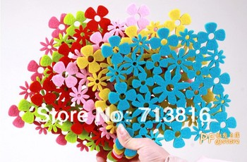New !!color hollow flowers felt placemat heat insulation coasters bowl pad home table decorations/ cup pad&Mats (Min order$10)