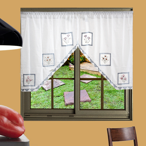 ( 2 piece / lot ) Simple Modern Cotton fabric Curtain tier Swag Valance Decorative door kitchen(China (Mainland))