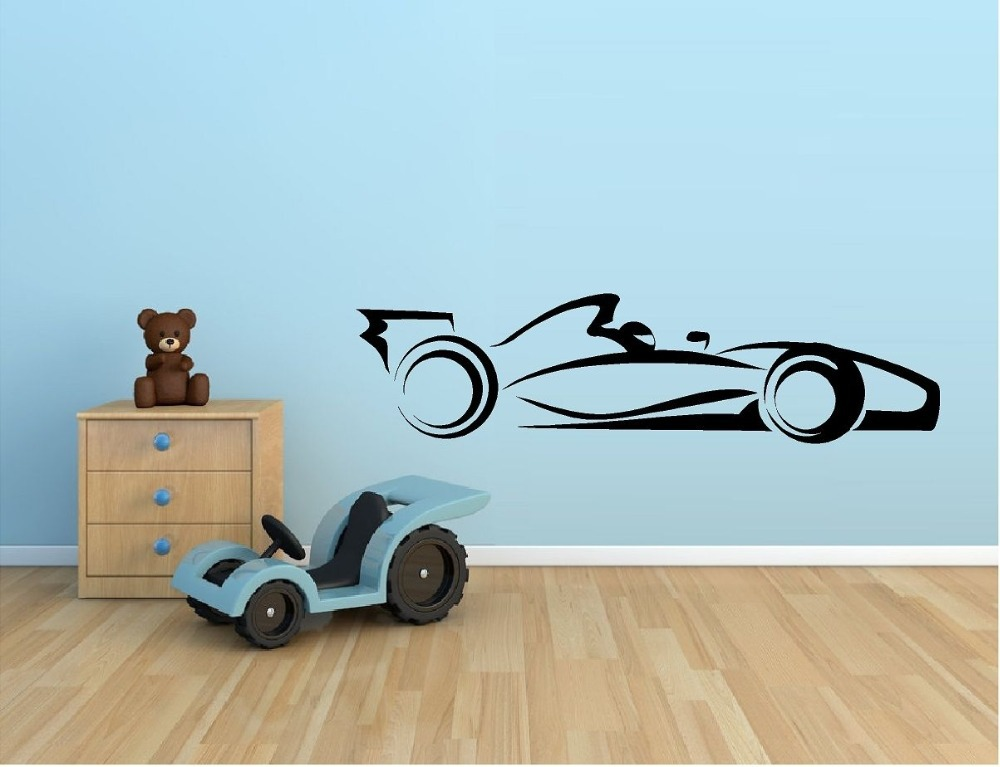 Hot Selling Racing Car Vinyl Wall Sticker Indy Car F1 Nascar Racing Mural Art Wall Decal Kids Room Boy Bedroom Home Decoration(China (Mainland))