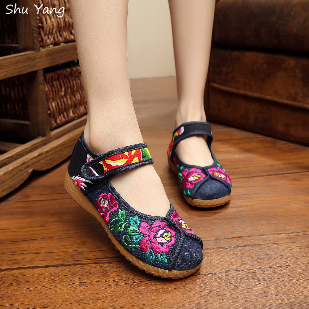 Fashion Spring Retro Style Shoes Woman,Women Old Peking Flats Chinese Flower Embroidery Casual Shoes zapatos mujer(China (Mainland))