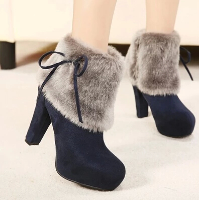 2015 winter women's all-match rabbit fur boots thick heel plus velvet high-heeled martin boots thermal shoes