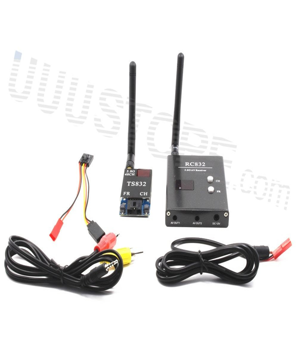 FPV 5.8Ghz 600mW 48CH Wireless AV A/V transmitter receiver TS832+RC832 Tx & Rx Set for Professional Drones RC Plane DJI Gopro(China (Mainland))