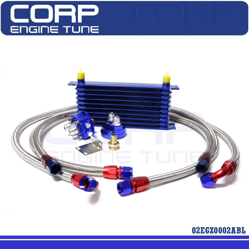 10 Row AN10 Universal Engine Transmission Oil Cooler + Filter Relocation Kit(China (Mainland))