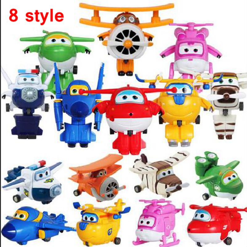 Hot Sale Super Wings Mini Planes Transformation Robots Action Figures 8 style Wings Super Deformation kids toys Gifts(China (Mainland))
