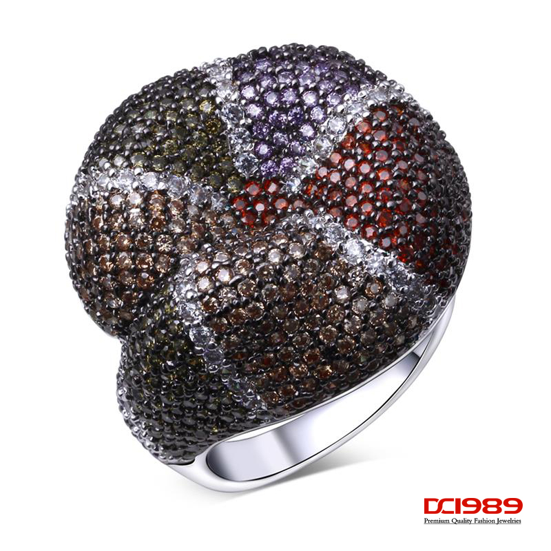 DC1989 Women's Rings Gold & Rhodium Plated Promise Ring Premium Quality Multi Colors Cubic Zirconia Pave Setting Lead Free(China (Mainland))