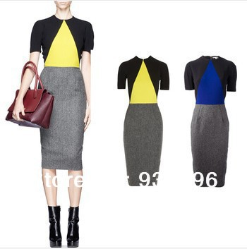2014 spring Winter VB Victoria Beckham Color Block Casual Pencil Dress Short-sleeve Knee Length Sheath Fashion Dresses - Huimani store