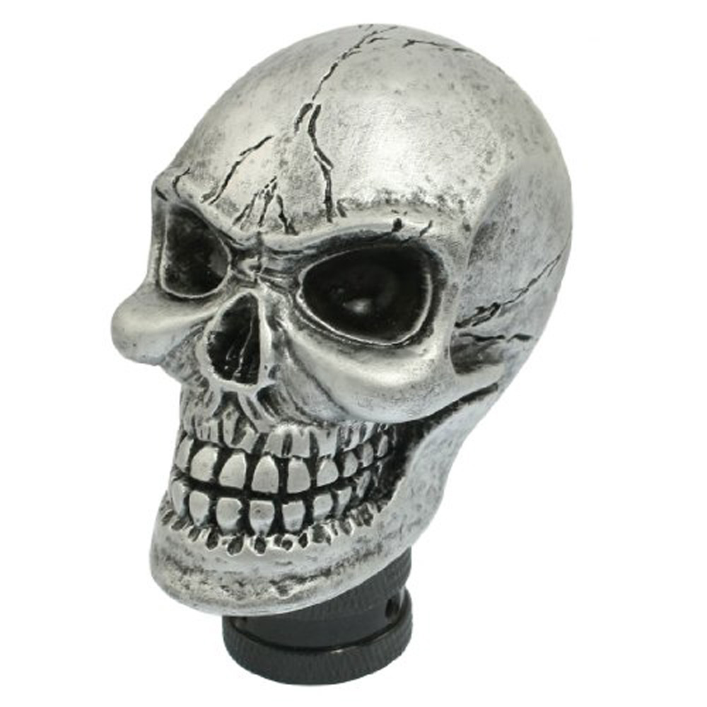 USA Delivery Metal Skull Head Truck Car Gear Shift Knob + 3 Plastic Connectors(China (Mainland))