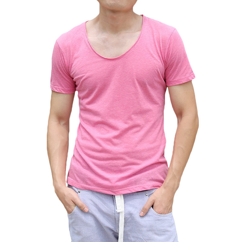 New Look Mens Cotton Tshirts Summer O Neck Slim Fit T Shirts Short Sleeve Plain Undershirt Brand Clothing Free Shipping(China (Mainland))