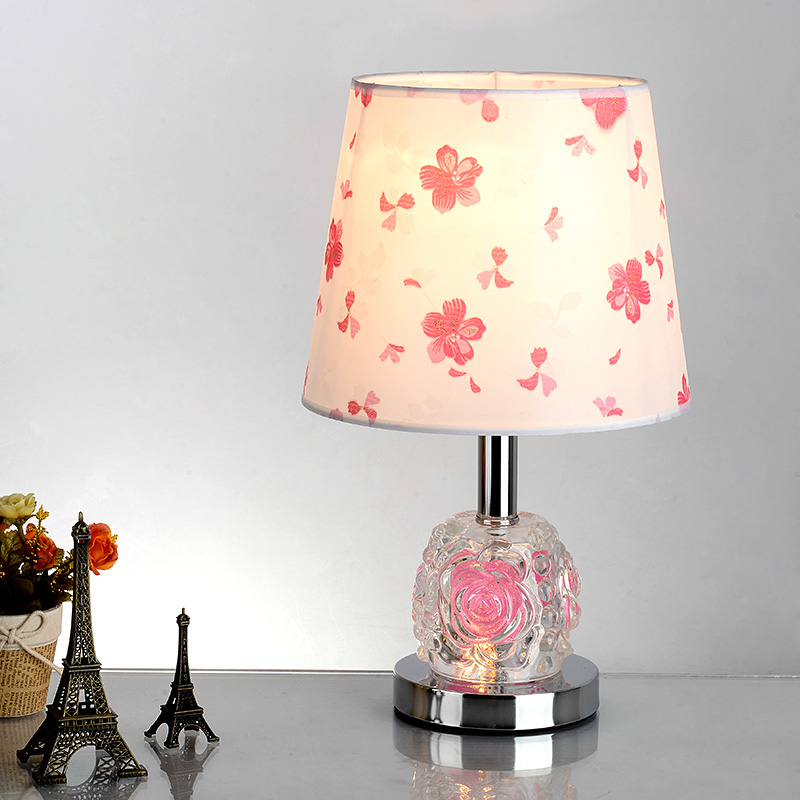 Fashion Led Desk Lamp Flower Lampshade with Crystal Ball Base for Study Room Bedroom Living Room Energy Saving Lighting(China (Mainland))