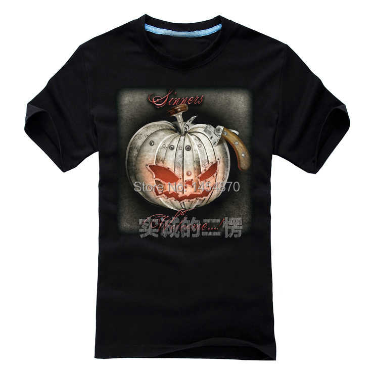 Helloween Band Rock Fashion Brand shirt High Quality 3D casual items skull Dark heavy Metal Punk fitness 100%Cotton Pumpkin 03(China (Mainland))