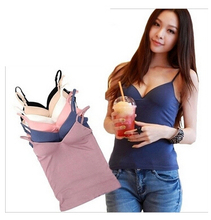 Fashion Modal Adjustable Strap Built In Padded Self Mold Tank & Tees Top Camisole Camis Women(China (Mainland))