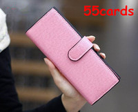 55 cards New fashion women female leather hasp long designer credit card business cards holders brand tarjetero mujer 45