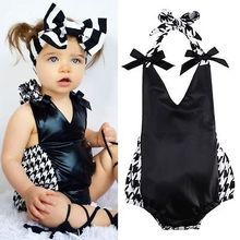 2016 Newborn Infant Baby Girls Strap Bodysuit 0-18M Infant Toddler Kids Summer Clothing Sunsuit Outfits Clothes(China (Mainland))
