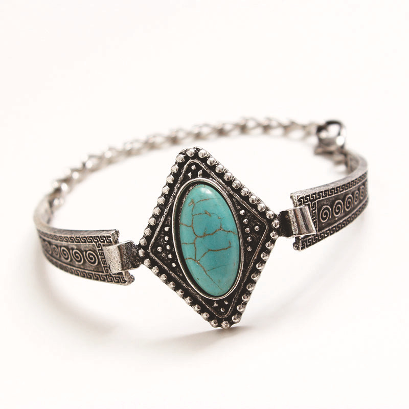 Charming Turquoise Tibetan Silver turquoise beaded rhombic Pendant bracelet jewelry women 2015!B128 - Fashion Utopia No.1 store