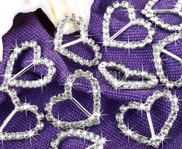 100pcs A-Grade Rhinestone Buckle, Diamante Heart Shape Buckle Size 18mm x 18mm DIY Supply Free Shipping(China (Mainland))