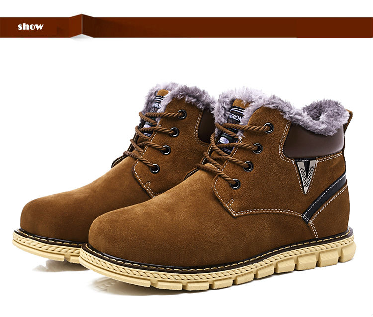 2016 Fashion winter warm cow leather boots with fur comfortable ankle boots round toe martin boots quality lace up snow boots
