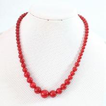 Мода искусственный red coral 6-14 мм круглые бусины ожерелья подвески женщины элегантные подарки цепи веревки ювелирные изделия diy 18 inch B666(China (Mainland))