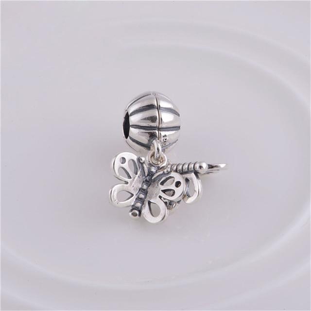 Подходит пандоры прелести браслет 925 серебряные ювелирные изделия бусины бабочки европейский шарм DIY мода ювелирных изделий