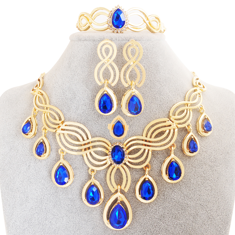 Indian Jewelry Statement Earrings Necklace Set 4 pcs 18K Gold Plated Water Drop Pendant Bridal Sapphire Jewelry Sets For Women(China (Mainland))
