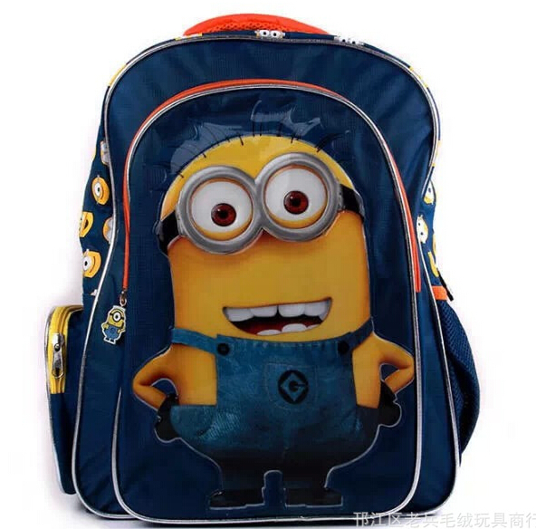 Free Shipping Hot Cartoon Despicable Me 2 Minions Figure Backpack Primary Scholar School bag for Boy or Girl <br><br>Aliexpress