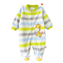 0-12M Autumn Soft Fleece Rompers Cute Pink Newborn Baby Girls Clothing Infant Baby Jumpsuits Footed Coverall Romper Toddlers(China (Mainland))