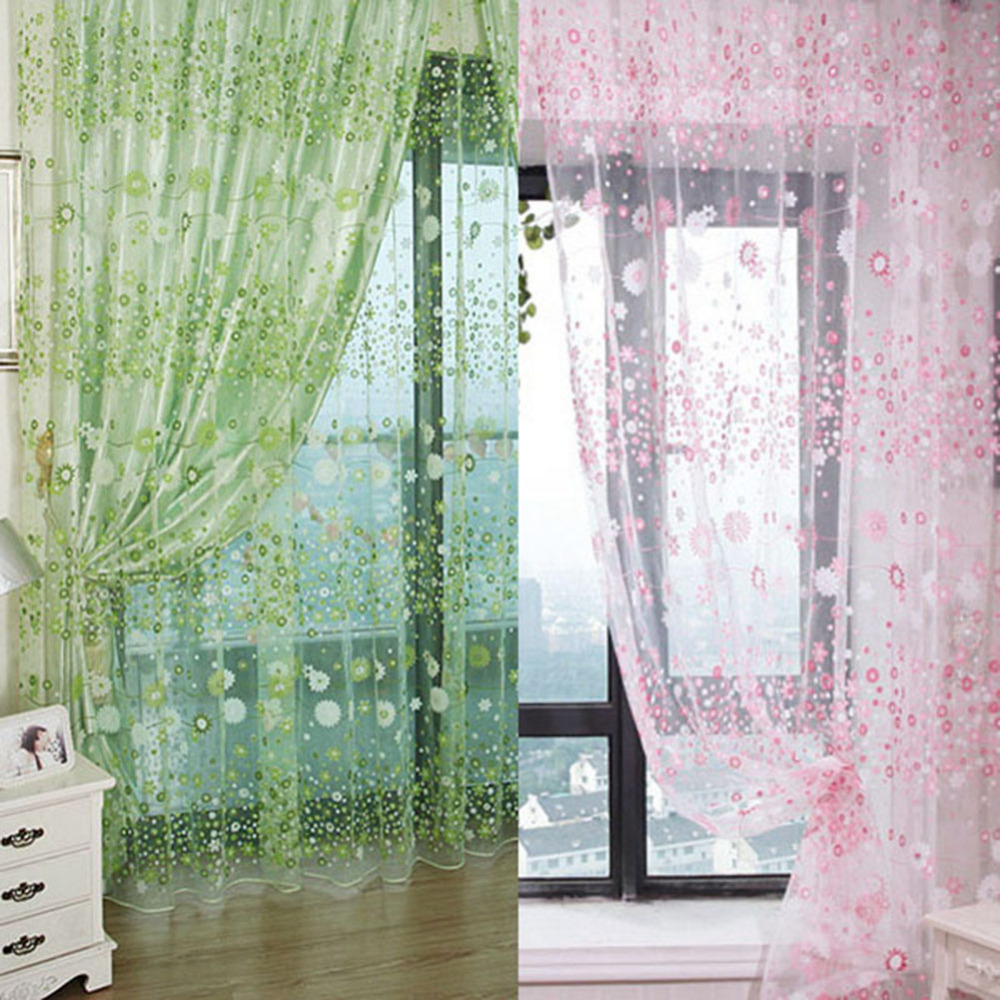 Window curtain green and pink floral pattern voile window for Tende in voile
