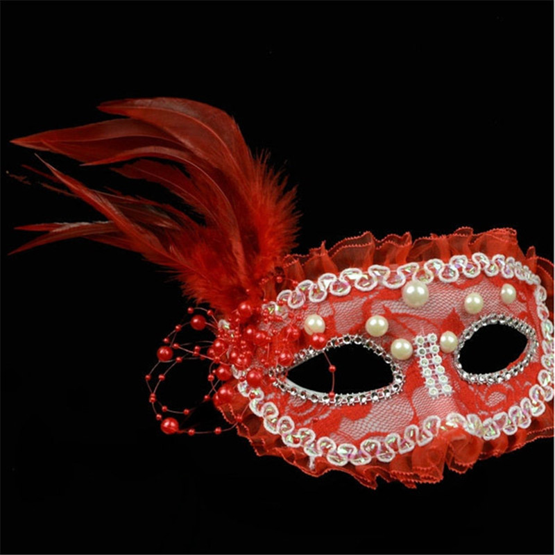 Halloween Party Masks Ball Masquerade Performance Princess Lace Pearl Feather Half Face Mask Female Models VDY43 P15 0.5(China (Mainland))