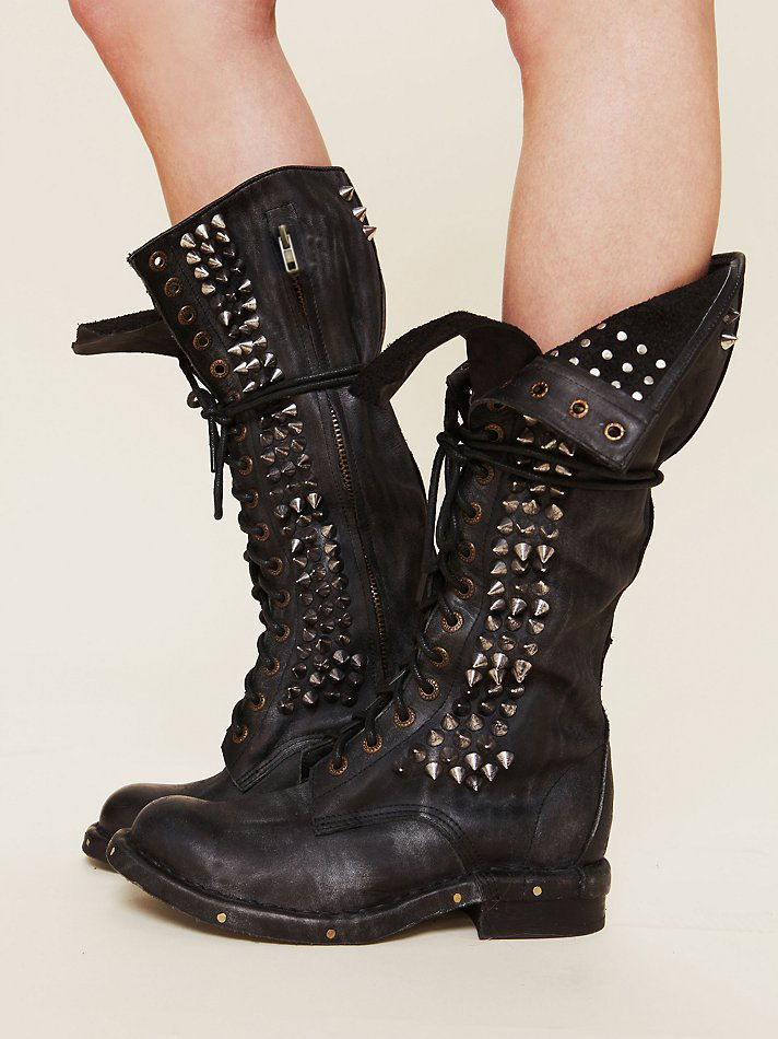 European Fashion Style Rivets Motorcycle Boots Retro Lace Up Original Leather Boots Square Heel Knee High Boots Cool Shoes Woman<br><br>Aliexpress