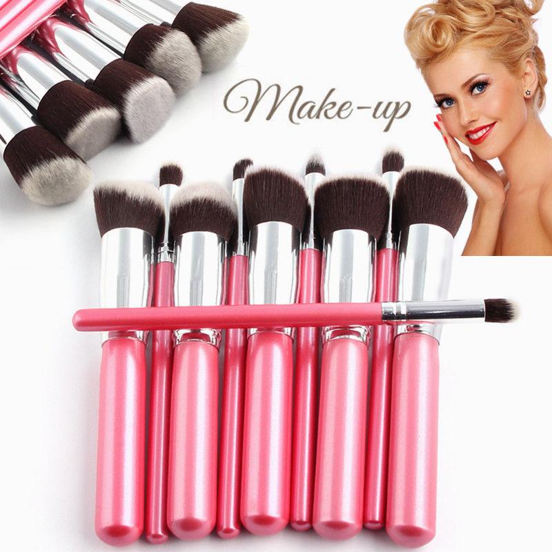Professional Cosmetic Makeup Tools Brushes 10pcs Pink Brushes Set Powder Eyeshadow Lip Blush Kit Wood Handle Beauty Quality(China (Mainland))