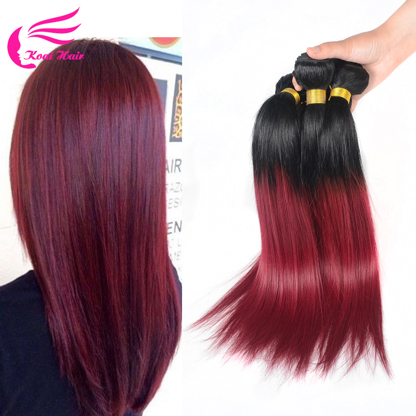 Ombre Peruvian Straight Hair 3pcs 1b/burgundy Ombre Human Hair Bundles Top Hair Extensions Price In Euros(China (Mainland))