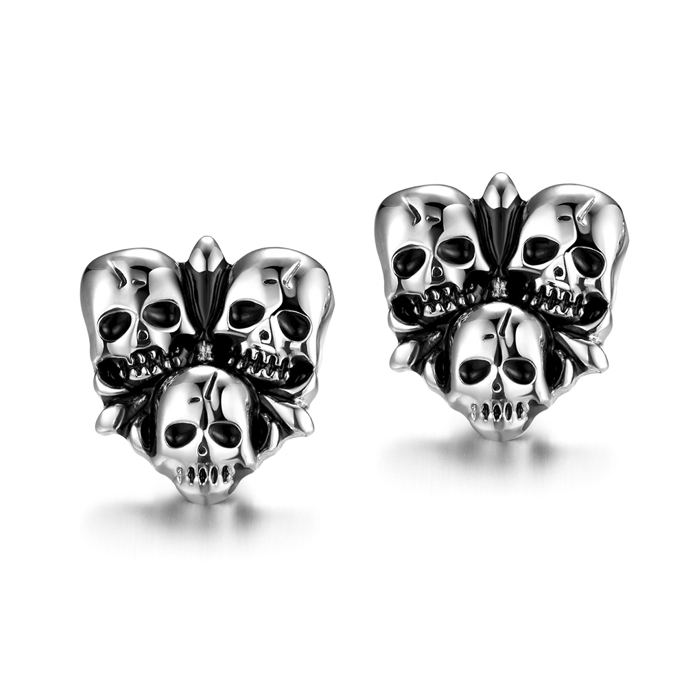 Unisex New Hot Skeleton Women's Earrings Vintage Punk Styles Stainless Steel Chic Jewelry Free Shipping(China (Mainland))