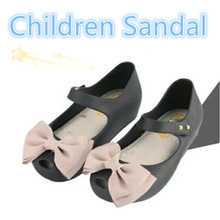 15-18cm Summer Mini Melissa Shoes Bow Princess Jelly Kids Sandals Children Beach Shoes Cute Cat Girl Sandals Sapato Menina 2016