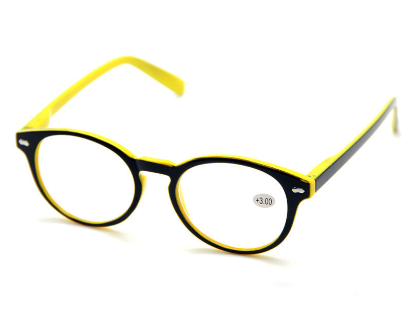 Large Frame Reader Glasses : Womens Mens Yellow Large Big Round Frame Oversized Reading ...