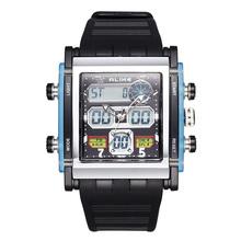 2015 hit ALIKE plaza doble pantalla digital reloj deportivo resistente al agua reloj de temporización del reloj del silicón