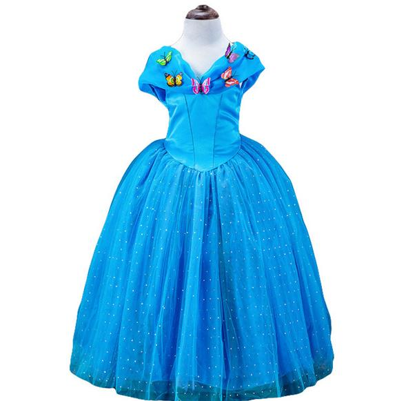 2016 Summer New Girls Movie Cosplay Costume Fairy Cinderella Flower Princess Dress Butterfly Baby Girl Party Evening Dresses(China (Mainland))