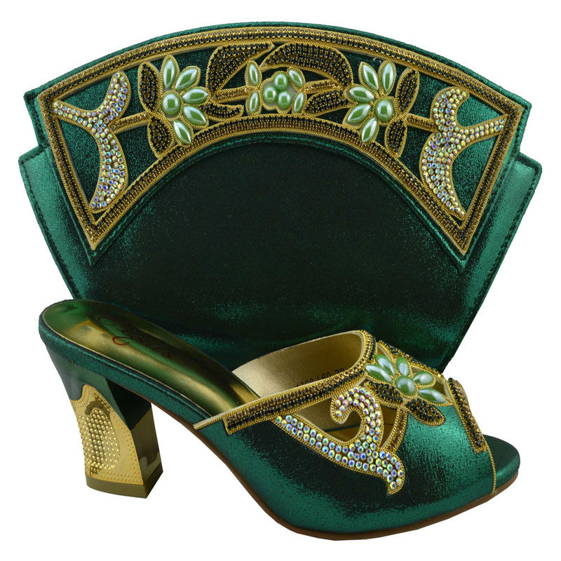 Фотография   Italian shoes and bags set for African woman , Good PU material for wedding party,1380-L60 green color with Free shipping