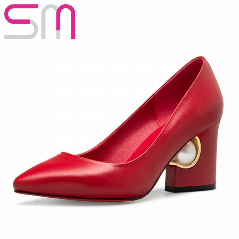Genuine Leather Women Pumps Elegant Bead Thick Heels Red Bottom High Fashion Pointed toe Cow Shoes Woman